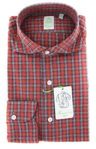 New $375 Finamore Napoli Red Plaid Shirt - Extra Slim - (2018031318)