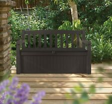 70 Gallon All Weather Outdoor Patio Storage Garden Bench Deck Box, Brown
