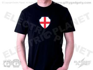 Light-Up England St George T-Shirt - Black Men's Cotton, S, M, L or XL World Cup