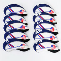 10pcs White and Blue USA Flag Neoprene Golf Club Iron Head Cover Wrap Protector