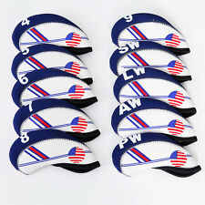 10pcs White and Blue USA Flag Neoprene Golf Club Iron Head Cover Wrap Protector
