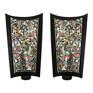 DecorShore Set Of 2 Tealight Abstract Metal Candle Sconces