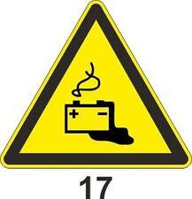 5x 10cm WZ-17 Warnzeichen vor gefahren d. Batterien Batterie gefahr Aufkleber