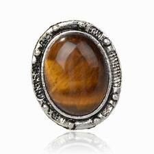 Flossy Tibet Silver Tiger Eye Gem Statement Finger Adjustable Cocktail Ring