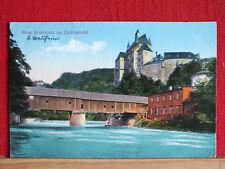 Farbkarte - Burg Kriebstein mit überdachter Brücke - gel 1928 ab Waldheim    m1