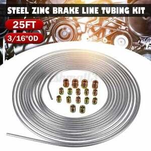 25Ft/300 inch Steel Zinc Brake Fuel Line Tubing Kit 3/16'' OD Roll & 16Pcs Nuts