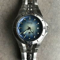 Fossil Mens Watch AM3724 All Stainless Steel With Blue Dial And Date Function E
