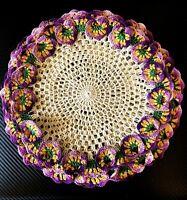 "Vintage Handmade Purple Green Yellow Pansy Trim Doilies 4pc 11.5"""