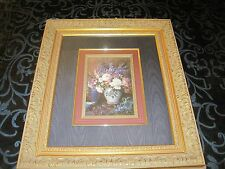 """Floral Art Print """"Flowers in a Vase"""" Custom Matted Framed, Artist Unknown 24x21"""""""