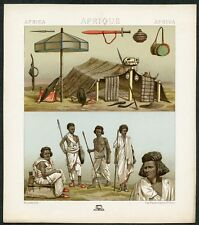 VINTAGE 1800's Color Costume Plate, Fashions of Africa, Fashion, Design, 007
