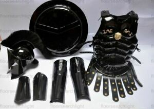Medieval BLACK SET Of Muscles Jacket With Helmet, Round Shield, Arm & Leg Guard