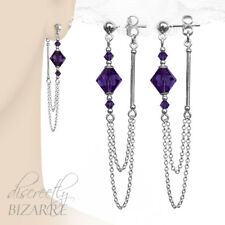 Long Sterling Silver Swarovski Purple Crystal Front to Back Chain Drop Earrings