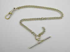 Late 1800s Silver Plated Watch Fob Chain with T Bar  LAYBY AVAILABLE
