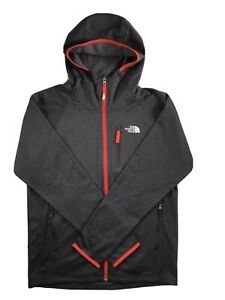 Boys The North Face Jacket Mid Cloud Full Zip Hoodie Lightweight Grey Orange XL
