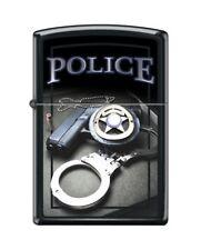 Zippo 4015 Police Gun Badge Handcuffs Black Matte Finish Lighter