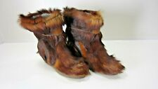 Vintage La Mondiale Italian Brown Fur/Hair Boots Women's Size 6