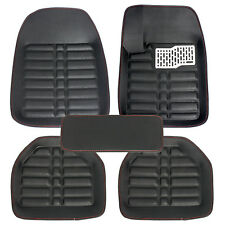 US Black 5pc Floor Mats All-Weather Universal Front&Rear FloorLiner Carpets Set
