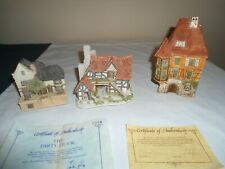 Vtg.Lot 3 English Cottages,2 John Hines With Coa,1 Fegershim,Good Cond'T
