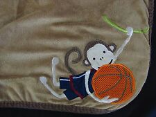 Lambs & Ivy Brown Plush Monkey on a Vine & Basketball Baby Boy Security Blanket