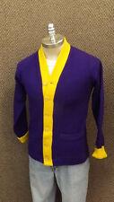 Vtg 50's Wigwam Varsity Letter Sweater Purple/Yellow/Wool sz 42 Med EUC