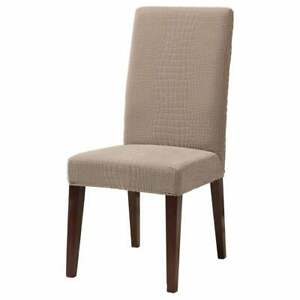 Sure Fit Stretch crocodile Jacquard Short Dining Room Chair beige tan pumice
