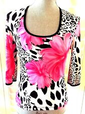 CDW (CREATIVE DESIGN WORKS INC.) BLOUSE SIZE PS 3/4 SLEEVES MADE IN USA  PINK/BL