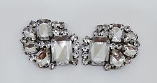 Vintage Lot of 2 Prong Set Rhinestone Applique Pendant Brooch Finding Wedding
