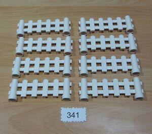 LEGO Duplo Zaun Gitter weiß 8 Latten Zäune 1x6 Garten Haus Eisenbahn Neu #341