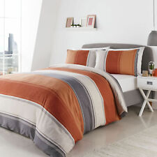 Fusion Betley Wide Stripe Spiced Orange and Grey Duvet Quilt Cover Bedding Set