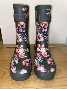 Joules Size 5 Khaki Green With Pretty Pink Floral Print Molly Mid Height Wellies