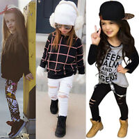 Child Kids Girl Outfits Clothes Long Sleeve T-shirt Tops+Jeans Casual Pants Set
