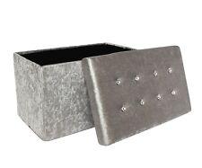 Deluxe Silver Crushed Velvet Diamante Footstool Ottoman Storage Blanket Box