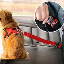 Adjustable Pet Dog Harness Lead Safety Seatbelt Travel Car Seat Belt Clip Red