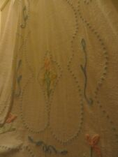 Vintage White Chenille Bedspread Blanket With Floral Pattern - Large