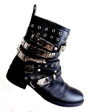 Chic Stylish Womens Sz 6 Belts Metal Leather  Buckle Zipper Motorcycle Boots