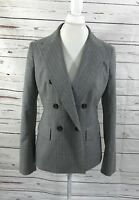 Talbots Women's Wool Blazer Double Breasted Gray Pinstriped Size 10