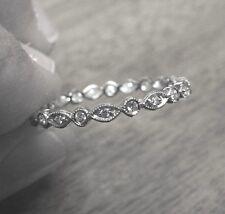 NEW 18kt WHITE GOLD ANTIQUE STYLE (VS/G) DIAMOND ETERNITY BAND RING (SIZE 7.5)