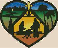Cross Stitch Chart STAINED GLASS HEART SHAPED NATIVITY - No.27-107 (Large Print)