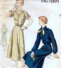 "ASY Vintage 50s DRESS Sewing Pattern Bust 32"" Sz 8 RETRO Shirtwaist SIX GORE"