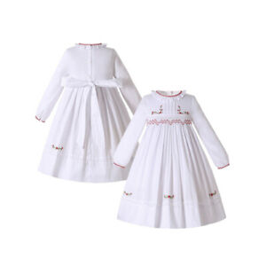 Baby Girl Smocked Dress Christmas Party Dresses Hand Embroidery White Autumn