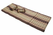 Thai Mat + Pillows Set Kapok Massage futon Mattress Shiatsu Reiki Bodywork brown