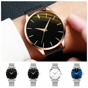 Trendy Men Minimalist Ultra Thin Slim Mesh Belt Stainless Steel Quartz Watch NEW