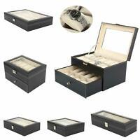 24 Slots PU Leather Wrist Watch Box Display Case Organizer Glass Jewelry Storage