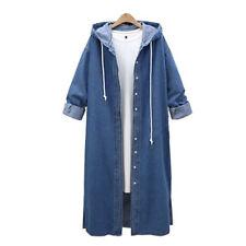 NEW Women Hooded Casual Long Sleeve Denim Jacket Long Jean Coat Outwear Overcoat