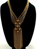 GOLD AND SILVER TONE MULTI STRAND STATEMENT NECKLACE