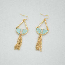 Fashion Gold Plated Blue Turquoise rhinestone Tassels Drop/Dangle Earrings