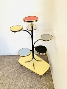 50s Mid Century Plant Formica Table Side End Table Vintage Atomic Space Age 60s