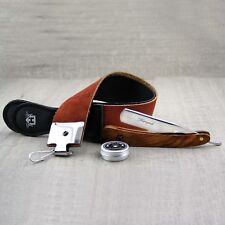 3 Pieces Men's Shaving Kit With Leather Strop,Straight razor & Paste.