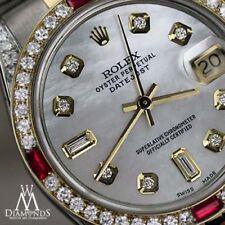Mujer Rolex SS ORO 31mm Datejust Reloj Blanco Esfera madreperla RUBÍ Y Diamante