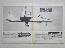 6/1964 PUB ROLLS-ROYCE V/STOL ENGINES RB.145 EWR VJ101C TRANSALL ORIGINAL AD